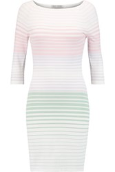 Autumn Cashmere Ombre Striped Stretch Jersey Mini Dress White