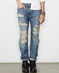 Denim And Supply Ralph Lauren Distressed Boyfriend Jeans Delmhorst Wash