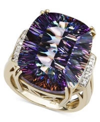Macy's 14K Gold Ring Mystic Topaz 11 Ct. T.W. And Diamond Accent