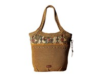 Sakroots Artist Circle Crochet Large Tote Camel Spirit Desert Tote Handbags Brown