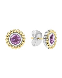 Lagos Sterling Silver And 18K Gold Stud Earrings With Amethyst