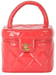 Chanel Vintage Quilted Hand Vanity Case Red