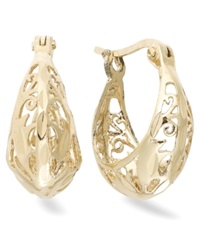Giani Bernini 24K Gold Over Sterling Silver Earrings Filigree Hoop Earrings