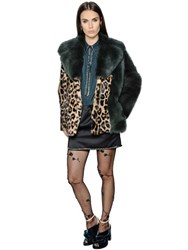 N 21 Leopard Printed Rabbit And Shearling Coat