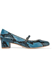 Schutz Snake Effect Leather Pumps Light Blue