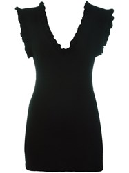 Marni Ruffled V Neck Knitted Tank Black