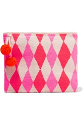 Sophie Anderson Lia Crocheted Cotton Clutch Pink