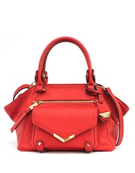 Jessica Simpson Bailey Faux Leather Satchel Bag Brick Red