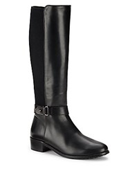 Aquatalia By Marvin K Leather Side Zip Knee High Boots Black