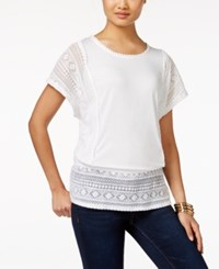 Styleandco. Style And Co. Petite Lace Panel Peplum Top Only At Macy's Bright White