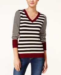 Pink Rose Juniors' Striped Fine Gauge Sweater Black Heather Oatmeal Brandy Wine