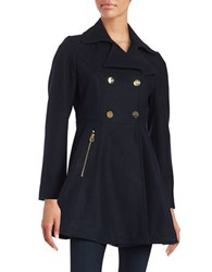 Laundry By Shelli Segal Flared Wool Blend Coat Navy Blue