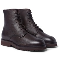Brunello Cucinelli Shearling Lined Textured Leather Boots