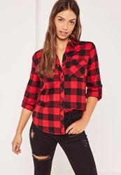 Missguided Petite Red Lumberjack Checked Shirt