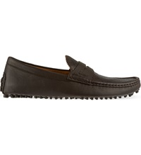 Gucci Diamond Apron Driver Shoes Dark Brown