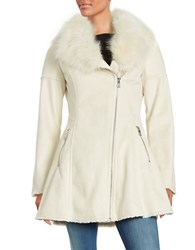 Catherine Malandrino Faux Fur Accented Flared Suede Coat Ivory