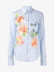 Alice Archer Dusty Floral Emroidered Gingham Cotton Shirt Multi Coloured Blue White