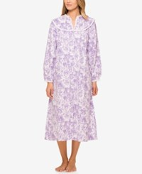 Lanz Of Salzburg V Neck Flannel Nightgown Lilac Roses