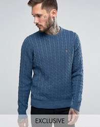 Farah Jumper With Cable Knit Exclusive Blue