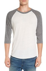 Alternative Apparel Men's Colorblock Baseball T Shirt Eco Ivory Eco Grey