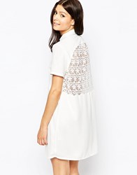 French Connection Maui Lace Shirt Dress Summer White