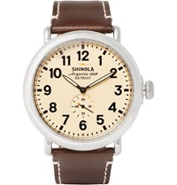 Shinola The Runwell 47Mm Stainless Steel And Leather Watch Brown