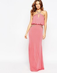 Forever Unique Petra Maxi Dress With Embellished Trim Coral Orange