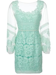 Blumarine Sheer Sleeve Lace Dress Green