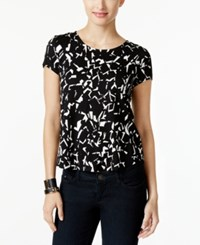 Alfani Petite Printed T Shirt Only At Macy's Crck Surf Black