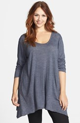 Plus Size Women's Allen Allen Slub Knit V Neck Tunic Flint