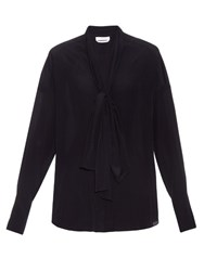 Chloe Tie Neck Crepe De Chine Blouse Navy