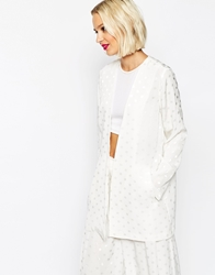 Asos Relaxed Clean Blazer With Spot Jacquard Co Ord White