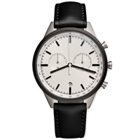 Uniform Wares C41 Chronograph Wristwatch Pvd Grey And Black Leather