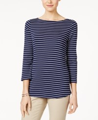 Charter Club Striped Boat Neck Top Only At Macy's Intrepid Blue Combo