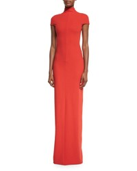 Solace London Lang Short Sleeve Stretch Crepe Maxi Dress Red