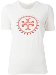 Tory Burch Logo Print T Shirt Nude And Neutrals