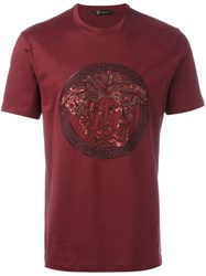 Versace Classic Medusa Sequin T Shirt Pink And Purple