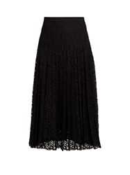Rebecca Taylor Pleated Floral Lace Skirt Black