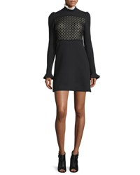 Giambattista Valli Long Sleeve Macrame Ruffle Neck Dress Black