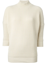 Victoria Beckham Thick Ribbed Sweater Nude And Neutrals