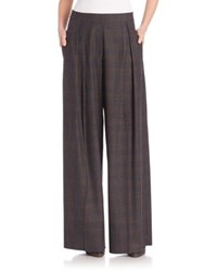 Brunello Cucinelli Wool Plaid Palazzo Pants Charcoal Tobacco
