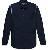 Alexander Mcqueen Slim Fit Contrast Trimmed Cotton Poplin Shirt Navy