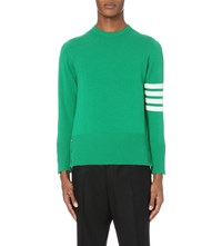 Thom Browne Striped Detail Cashmere Jumper Green W Winter White