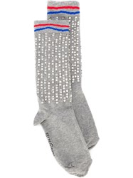 Filles A Papa Rhinestone Embellished Socks Green