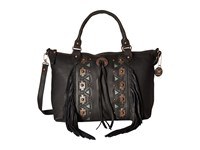 American West Chenoa Large Zip Top Convertible Satchel Black Satchel Handbags