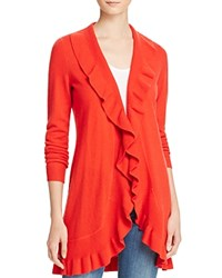 Bloomingdale's C By Ruffled Cashmere Cardigan Cherry