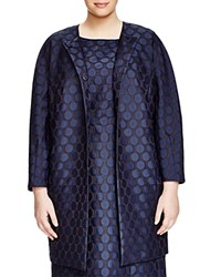 Marina Rinaldi Plus Nitido Polka Dot Coat Navy