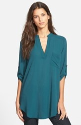 Women's Lush 'Perfect' Roll Tab Sleeve Tunic Legion Blue