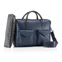 Mark Giusti Milano Double Zip Laptop Bag Navy And Black