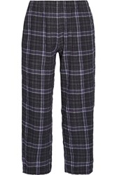 Skin Donna Plaid Stretch Cotton Gauze Pajama Pants Midnight Blue